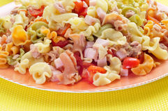 Pasta salad. Closeup of a plate with refreshing pasta salad royalty free stock photo