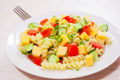 Pasta salad with cheese and vegetables Royalty Free Stock Photography