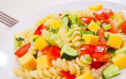 Pasta salad with cheese and vegetables Stock Photography