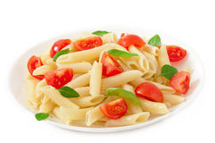 Pasta salad with cherry tomatoes royalty free stock image