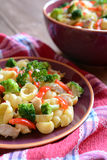 Pasta salad with chicken meat, broccoli, chilli and peppers Royalty Free Stock Photography