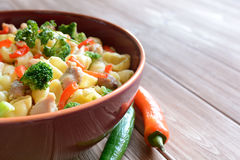 Pasta salad with chicken meat, broccoli, chilli and peppers Stock Images