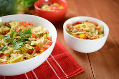 Pasta salad with chicken meat and pepper Royalty Free Stock Photo