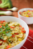 Pasta salad with chicken meat and pepper Stock Image