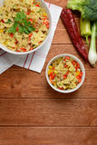 Pasta salad with chicken meat and pepper Stock Photo
