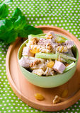 Pasta salad with  chicken and vegetables. Stock Photography