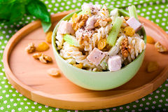 Pasta salad with  chicken and vegetables. Royalty Free Stock Image