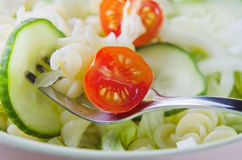 Pasta and Salad Close Up Stock Photo