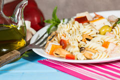 Pasta Salad. Cold Pasta Salad typical Mediterranean food Stock Images