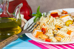 Pasta Salad. Cold Pasta Salad typical Mediterranean food Royalty Free Stock Photos