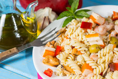 Pasta Salad. Cold Pasta Salad typical Mediterranean food Stock Photography