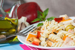 Pasta Salad. Cold Pasta Salad typical Mediterranean food Royalty Free Stock Image