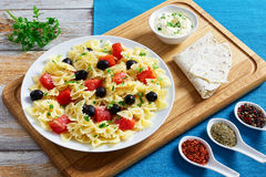 Pasta salad Farfalle with Smoked Salmon, top view Royalty Free Stock Images