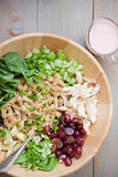 Pasta salad. Fresh tossed pasta and chicken salad with grapes and homemade dressing Royalty Free Stock Photo