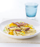Pasta salad. With fry becon stock image
