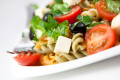 Pasta salad with goat cheese Royalty Free Stock Photo