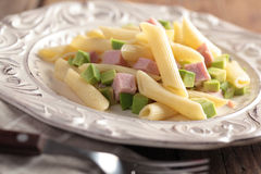 Pasta salad with ham Stock Photography