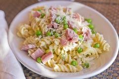 Pasta Salad Ham Peas Stock Photo
