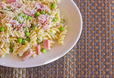 Pasta Salad Ham Peas Stock Photos