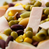 Pasta salad with ham and vegetables Royalty Free Stock Photos