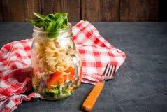 Pasta salad in mason jar Stock Photo