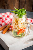 Pasta salad in mason jar Royalty Free Stock Photography