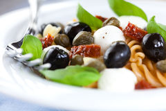 Pasta salad with mozzarella royalty free stock images
