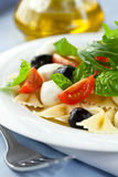 Pasta salad with mozzarella Royalty Free Stock Photos