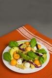 Pasta salad with mozzarella and melon Royalty Free Stock Photography