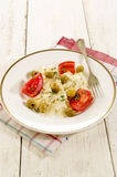 Pasta salad with olives and tomatoes Royalty Free Stock Photo