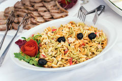 Pasta salad. Plate with cold pasta salad Stock Photo
