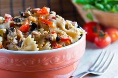 Pasta with salad Royalty Free Stock Photos
