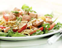 Pasta salad with salmon Stock Photo