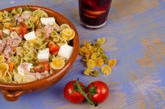 Pasta salad and sangria Stock Images