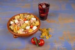 Pasta salad and sangria Stock Photos