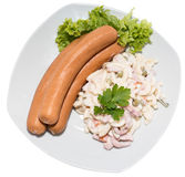 Pasta Salad with Sausage (on white) Royalty Free Stock Photos