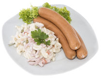 Pasta Salad with Sausage (on white) Stock Photos