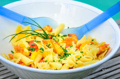 Pasta salad with shrimps Royalty Free Stock Photography