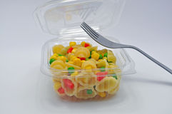 Pasta salad takeaway with fork Royalty Free Stock Image