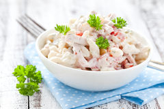 Pasta salad with tomato. Fresh pasta salad with tomato and parsley Stock Photo