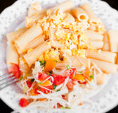 Pasta with salad from tomato and cabbage Royalty Free Stock Photo
