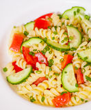 Pasta salad with tomato and cucumber Royalty Free Stock Photo