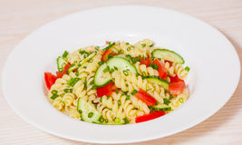 Pasta salad with tomato and cucumber Stock Photo
