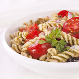 Pasta Salad with Tomatoes and Olives Royalty Free Stock Photo