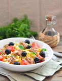 Pasta salad with tuna, cherry tomatoes and olivs Royalty Free Stock Photography
