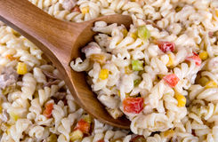 Pasta salad with tuna corn tomatoes and pepper Stock Image