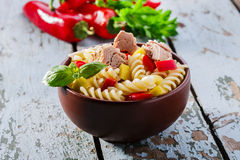 Pasta salad with tuna. And pepper royalty free stock image