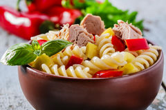 Pasta salad with tuna. And pepper stock photo