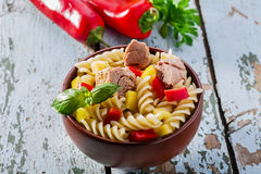 Pasta salad with tuna. And pepper stock photos