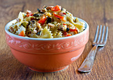 Pasta with salad and vegetables royalty free stock photography